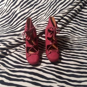 Qupid Faux Suede Lace Front Boots 3.5 in Heels